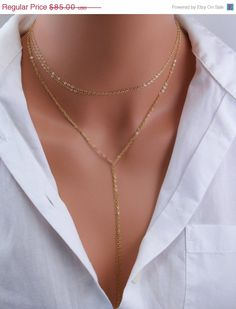 ON SALE Double Wrap Delicate Gold Filled Lariat Necklace. $72.25, via Etsy.