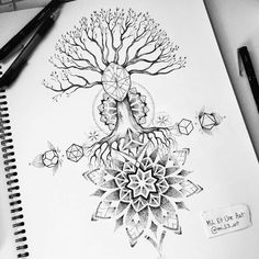 Tree and geometry back tattoo design on Behance