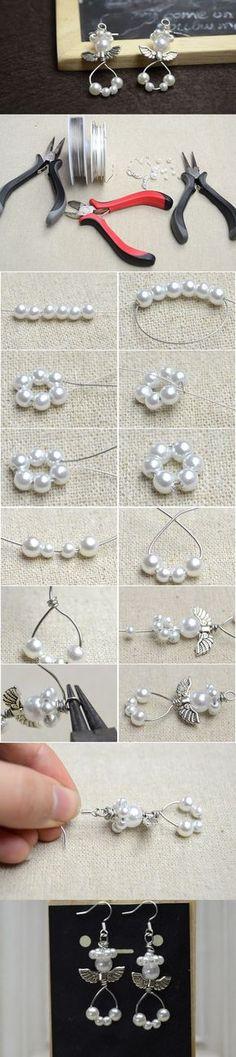Cute Handmade Pearl Beaded Angel Dangling Earrings DIY #earrings angelearrings #pandahall
