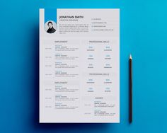 Resume/CV Template  One Page Printable Resume by MunPrintables