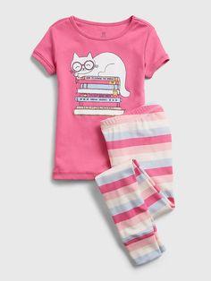 Kids 100% Organic Cotton Cat Graphic PJ Set   Gap Gap Kids, Pj Sets, Toddler Shoes, Spring Summer Fashion, Organic Cotton, Girl Fashion, Short Sleeves, Mens Tops, Cat