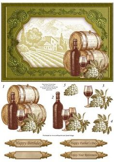 - Wine themed card front, with step by step decoupage. Features framed image of vineyard, wine barrels, wine bottle, wine. Card Making Inspiration, Making Ideas, 3d Sheets, Male Birthday, Wine Barrels, 3d Paper Crafts, Painted Wine Glasses, 3d Cards, Fathers Day Cards