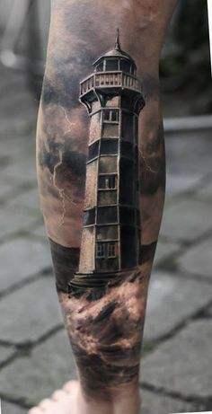 20 stunning lighthouse tattoo ideas - diy for everything- 20 atemberaubende Leuchtturm Tattoo Ideen – Diy Für Alles 20 stunning lighthouse tattoo ideas - Best Leg Tattoos, Leg Tattoo Men, Tattoo Motive, 3d Tattoos, Trendy Tattoos, Body Art Tattoos, Sleeve Tattoos, Tatoos, Colorful Tattoos