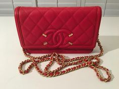 NWT Auth CHANEL '18P Red Filigree Caviar Flap CC Logo Chain Strap Mini Bag #CHANEL #ShoulderBag