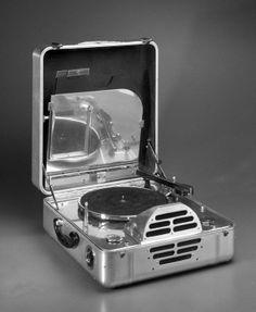 RCA Victor Special Model K, Portable Electric Phonograph Designer: John Vassos Medium: Aluminum, various metals, plastic, felt, leather Place Manufactured: United States Dates: ca. 1935 #vinyl #records http://www.pinterest.com/djspyder/edisons-medicine-vinyl-records/