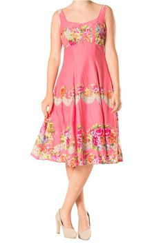 Cotton Hot Pink or White Floral Sweetheart Dress