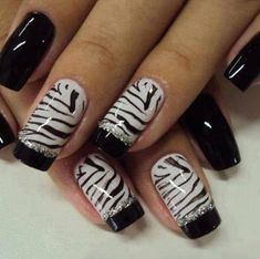 Black And White Nail Art Design  my daughter will love these!!