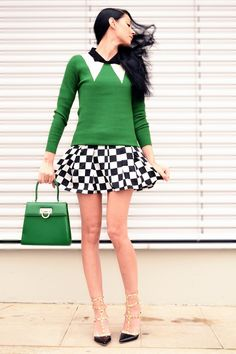 From serialklother.com  GREEN, WHITE AND BLACK IS A PERFECT COLOR COMBO FOR FALL.  THE CHECKED PATTERN ADDS SOME FUN.  ANOTHER PATTERN TO TRY WOULD BE ZEBRA.