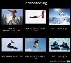 Snowboarding, What people think I do, What I really do meme image - uthinkido.com