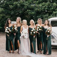 Dark Green Bridesmaid Dresses,Spaghetti Straps Long Bridesmaid Dresses,Sexy Slit Bridesmaid Dresses,Wedding Party Dresses - Welcome My Home Emerald Green Bridesmaid Dresses, Green Wedding Dresses, Long Bridesmaid Dresses, Emerald Green Weddings, Green Bridesmaids, Dress Prom, Dress Long, Bridesmaid Dress Colors, Hunter Green Weddings