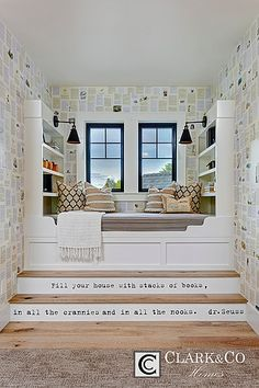 "Clark & Co Homes - 2016 Spring Parade Home ""The Heartland"". Modern Farmhouse. www.clarkandcohomes.com. Built-in cabinetry; White Dove by Benjamin Moore; Black Magic. Reading nook built-in daybed with book shelves. Dr. Suess quote on stairs. Pella Impervia black fiberglass windows."