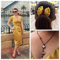 Today is Dapper Day at Disneyland! Everyone dresses up vintage it's so much fun seeing everyone's creative outfits.  I was going for a pin-up Belle - wearing my Ava dress from @pinupgirlclothing  #dapperday #dapperdayspring2016 #pugdisneybound #disneybound #pinupgirlclothing #avadress #belle #beautyandthebeast @dapperday @dapperdayexpo @disneyland @thedisneybound by folkharpist