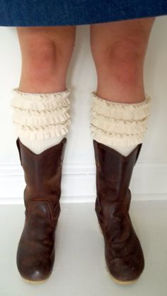 bayousalvage on Etsy: Ruffled Leg Warmers. They'll be mine over a pair of skinny jeans and under a pair of boots.