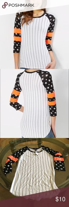 NWT Tossed Star Striped Baseball Tee Cheers to the weekend! We'll help you get ready in this fun jersey knit baseball tee. Designed with vertical striped prints, it features tossed star prints and double stripes at its raglan sleeves.  Combo #1: 80% polyester, 15% rayon, 5% spandex; Combo #2: 95% rayon, 5% spandex Machine wash Need a different size!? Just ask!  Rue 21 Tops Tees - Long Sleeve