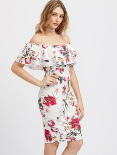 ¡Consigue este tipo de vestido informal de SheIn ahora! Haz clic para ver los detalles. Envíos gratis a toda España. Layered Flounce Off Shoulder Flower Print Dress: Multicolor Elegant Sexy Party Jersey Off the Shoulder Short Sleeve Sheath Knee Length Ruffle Floral Fabric has some stretch Spring Summer Pencil Dresses. (vestido informal, casual, informales, informal, day, kleid casual, vestido informal, robe informelle, vestito informale, día)