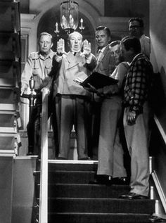 Alfred Hitchcock directs Dial M for Murder, 1953.