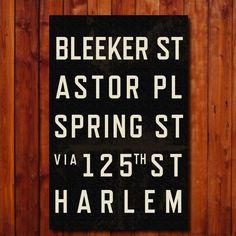 New York City - Subway Sign via Etsy Nyc Subway, Subway Art, Subway Signs, Home Decor Sites, Nyc Studio, Unique Wall Art, Typography Prints, City Art, New York City