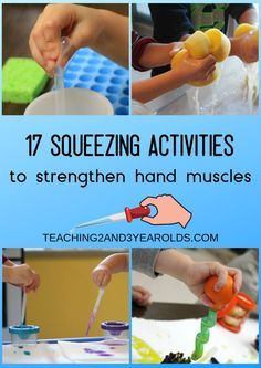 Our favorite collection of preschool fine motor activities! Each one involves some sort of squeezing that strengthens the hands and fingers, getting them ready for writing. A free fine motor checklist Toddler Fine Motor Activities, Preschool Fine Motor Skills, Motor Skills Activities, Gross Motor Skills, Toddler Learning, Sensory Activities, Fine Motor Activity, Writing Activities For Preschoolers, Dementia Activities