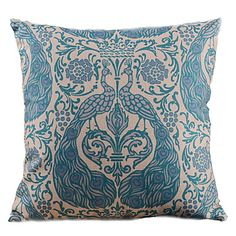 Graceful Blue Peacock Decorative Pillow Cover – USD $ 12.99