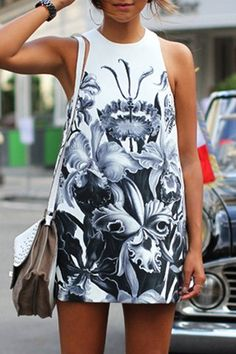 Novelty Round Neck Gray Floral Printed Sleeveless Dress For WomenCasual Dresses | RoseGal.com