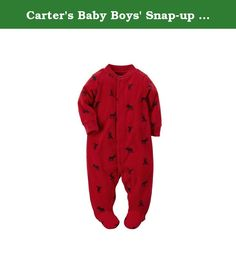 Carters Baby Boys Snap-up Fleece Sleep & Play (3 Months, Red). Ribbed neck and cuffs.