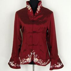 """Shanghai Tone® Noble Embroidery Party Jacket Burgundy Available Sizes: 0, 2, 4, 6, 8, 10, 12, 14, 16, 18, 20 by Shanghai Tone. Save 45 Off!. $40.50. Size Chart - WomenSize: XS/US. 0, To Fit Bust: 31""""-32"""" (78.7-81.3 cm), Waist: 23""""-24"""" (58.4-61 cm), Hips: 33.5""""-34.5"""" (85.1-87.6 cm)Size: XS/US. 2, To Fit Bust: 32""""-33"""" (81.3-83.8 cm), Waist: 24""""-25"""" (61-63.5 cm), Hips: 34.5""""-35.5"""" (87.6-90.2 cm)Size: S/US. 4, To Fit Bust: 33""""-34"""" (83.8-86.3 cm), Waist: 25""""-26"""" (63.5-66 cm), Hips: ..."""