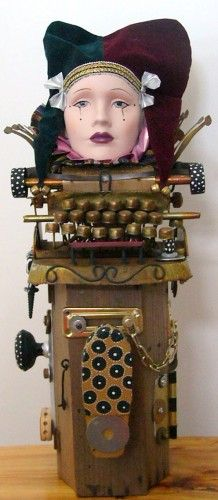 SALE!!!!! Surely You Jest! Recycled Found Object mixed Media Sculpture
