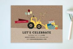 Krafting a Party Children's Birthday Party Postcards by Rebecca Bowen at minted.com
