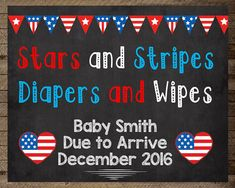 Pregnancy Announcement sign Fourth of July by InJOYPrints on Etsy