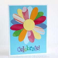 Handmade Little Girl's Birthday card using layered paper scraps.