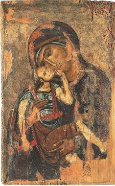 Αμφιπρόσωπη εικόνα με την Παναγία Γλυκοφιλούσα και Σταυρό.  Βυζαντινό και Χριστιανικό Μουσείο Θεσσαλονίκη 12ος αιώνας