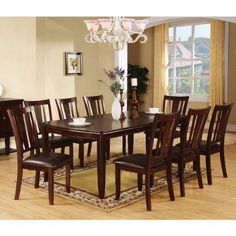 Edgewood Traditional Style Espresso Finish 9 Piece Dining Set 247SHOPATHOME