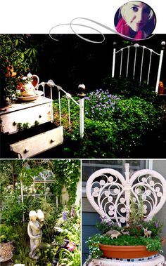 Flower garcen in bed frame on pinterest flower beds bed for Funky garden designs