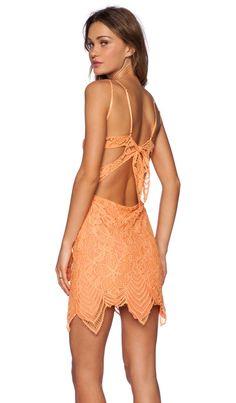 For Love & Lemons Guava Mini Dress in Tropical Orange
