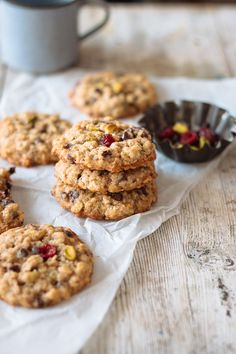 chewy oatmeal cookies with chocolate chips, nuts & dried fruit.