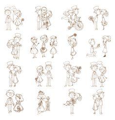 Wedding doodles vector on VectorStock®