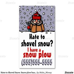 Business Cards For Snow Removal Biz To Shovel Plow Double