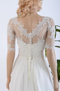 Lace wedding dress with elbow sleeve lace bolero por ELDesignStudio