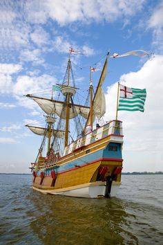 Roanoke Island Festival Park, NC - The representational ship interprets one of the seven English merchant vessels from the Roanoke Voyage of 1585.