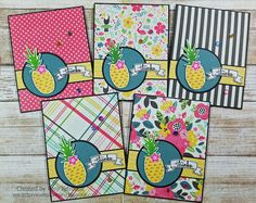 """airbornewife's stamping spot: TupeloDesignsLLC DT Project """"THANKS"""" Set of 5 cards using Concord &9th Pop Art Pineapple stamp set"""
