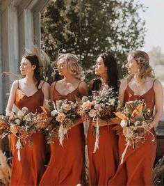 Burnt Orange Bridesmaid Dresses, Burnt Orange Weddings, Long Bridesmaid Dresses, Orange Wedding Dresses, Boho Bridesmaids, Autumn Bridesmaids, Patterned Bridesmaid Dresses, Burgundy Wedding, Wedding Party Dresses
