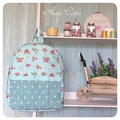 Backpack, shabby, country, roses, Blue wood, handmade