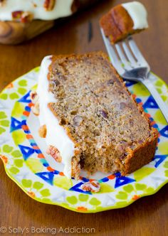 Best-Ever Banana Bread with Cream Cheese Frosting. 4 whole bananas, brown sugar, extra egg, and yogurt makes this banana bread super-moist a...