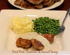 This looks delish!! Fried Pork Tenderloin & Sawmill Gravy from Melissa's Southern Style Kitchen