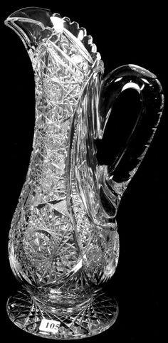 """14 1/4"""" AMERICAN BRILLIANT CUT GLASS TALL PEDESTAL PITC : Lot 105"""