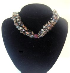 Crocheted Ribbon Necklace Ladder Yarn #jewelry #crochet #handmade by MoomettesCrochet