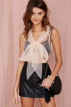Nasty Gal Little Bow Pink Organza Blouse