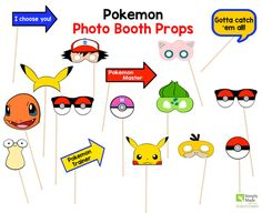 Pokemon Party Photo Booth Props for your Pokemon Party. Your guests will have a blast taking pictures with these Pokemon Props.