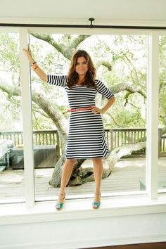 In stretchy, flattering jersey, a striped dress reads as crisp without feeling the least bit stiff. The Limited dress, $89.90; thelimited.com. Roberta Chiarella bangle, $148; robertachiarella.com (50% off with code REDBOOK50). T+J Designs bangle, $18; tandjdesigns.com. Vince Camuto bangle, $148; vincecamuto.com. Banana Republic belt, $29.50; bananarepublic.com. Ilse Jacobsen Hornbaek wedges, $119; pilgrimsprogressclothing.com.   - Redbook.com