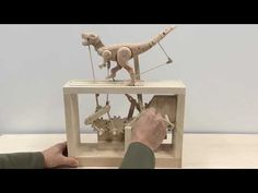 Tyrannosaurus Automata is finally finished ~ - YouTube Recycled Art Projects, Small Wood Projects, Diy Projects, Kinetic Toys, Kinetic Art, Wooden Toy Cars, Wood Toys, Woodworking Toys, Woodworking Projects Diy